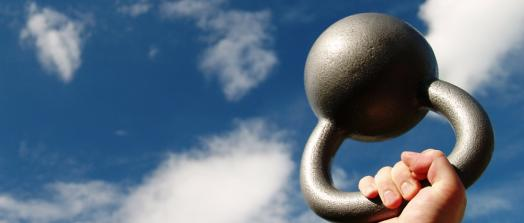 Kettlebell blue sky illustration from Shutterstock